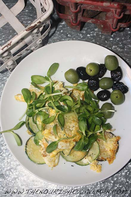 This French Bistro Breakfast Of Eggs And Vegetables will transport you to France. It takes 5 minutes to make and it is absolutely delicious. It's the perfect light supper or great breakfast. The Nourished Caveman . com
