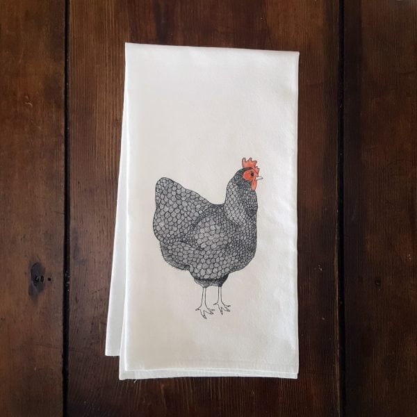 mother hen flour sack towel folded on table