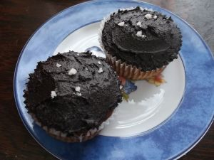 KM_Paleo vanilla cupcakes with chocolate frosting