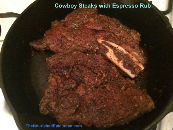 Grass-fed rib-eye steaks