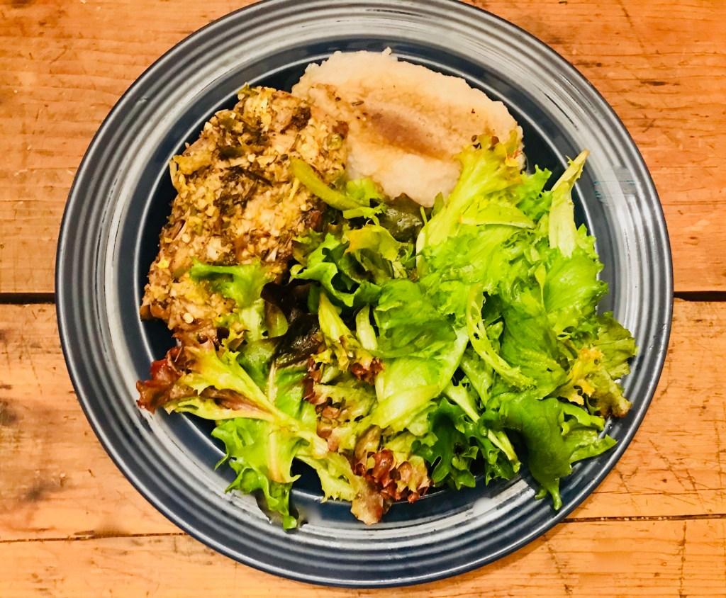 Pasture-raised pork chop + organic buckwheat grits + greens