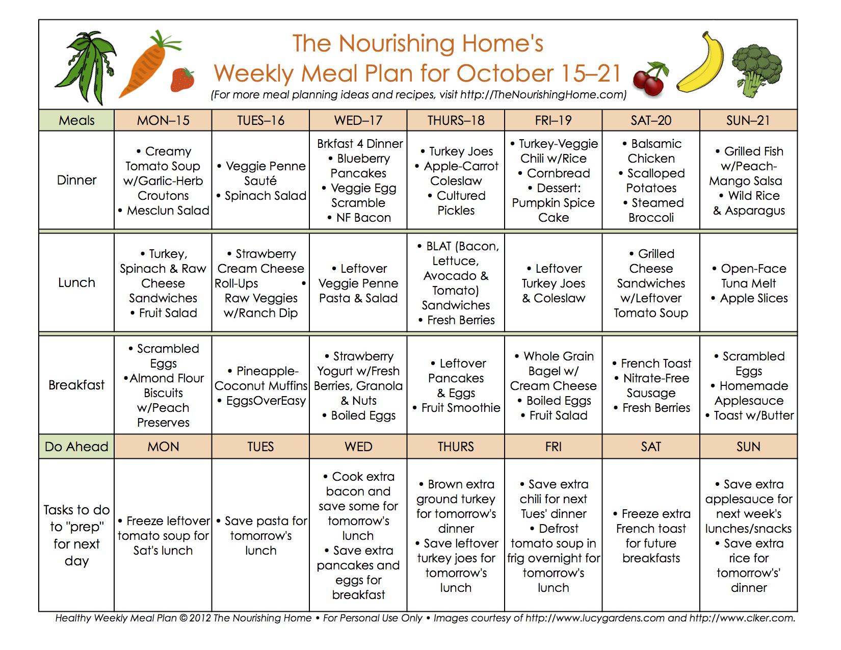 Meal Plan Monday October 15 28