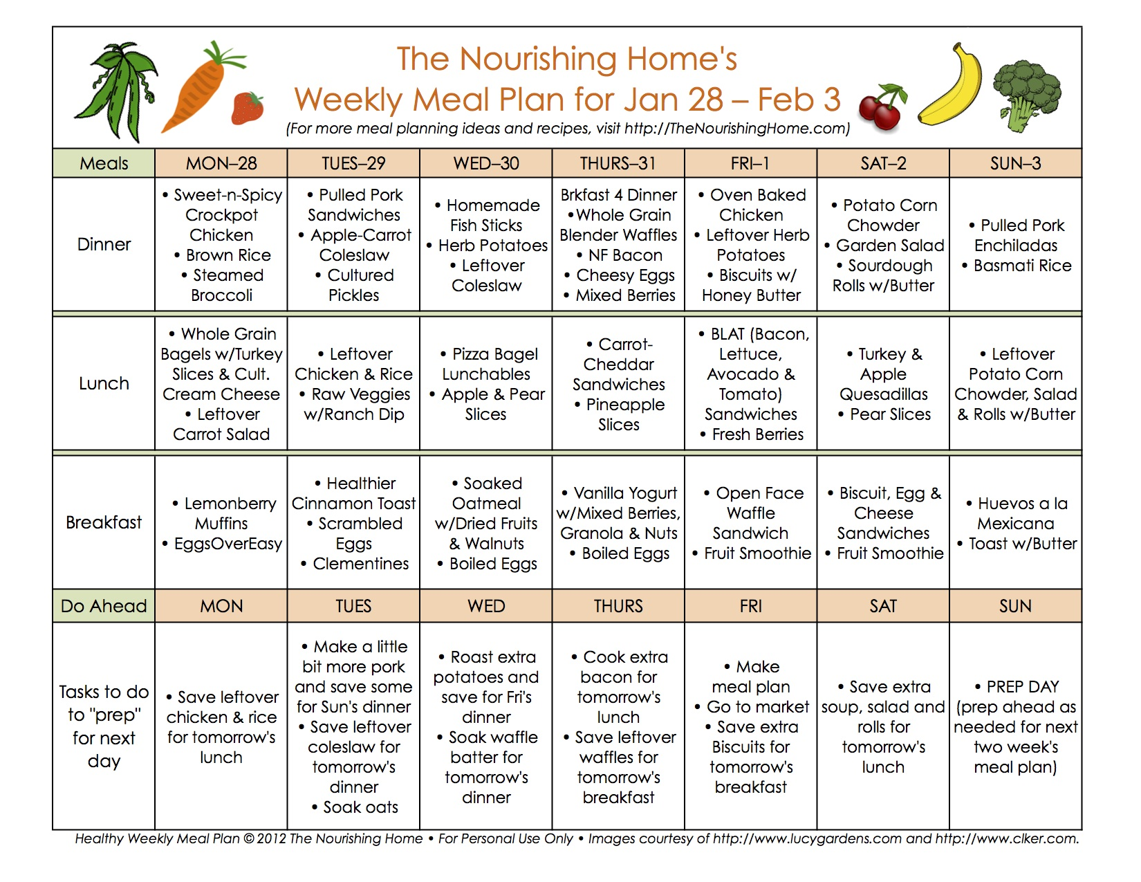 Meal Plan Monday January 21 February 3