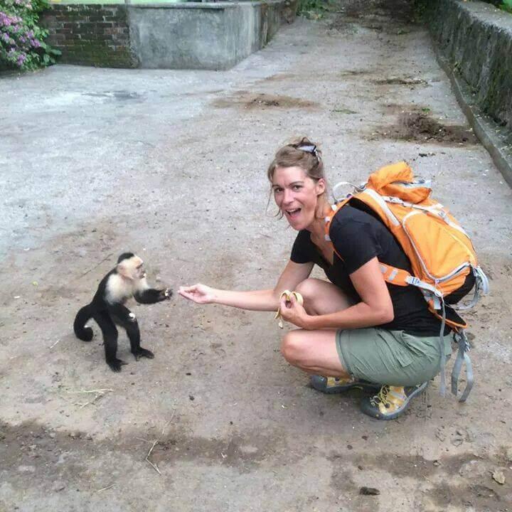 The Novel Tourist feeding monkeys