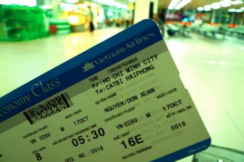 My plane ticket to Haiphong