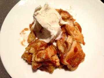 four and twenty blackbirds' salted apple caramel pie served with ben and jerry's vanilla ice cream