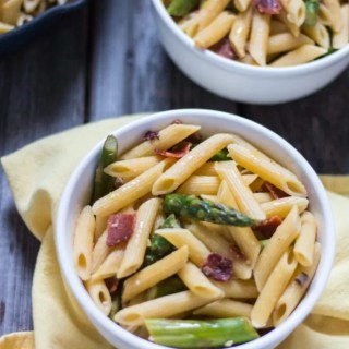 Penne with Asparagus, Mushrooms and Vegan Bacon | www.thenutfreevegan.net