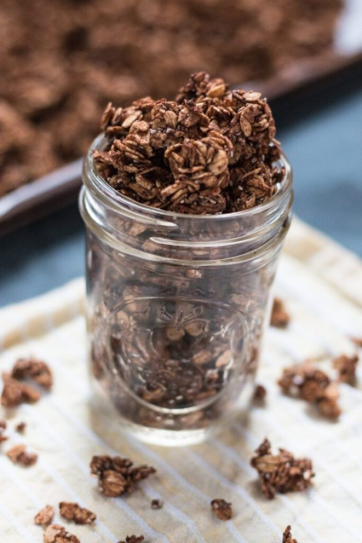 Simple and delicious vegan chocolate chia granola | www.thenutfreevegan.net