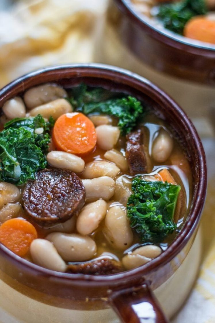 White Bean Soup with Kale and Tofurky Vegan Sausage | www.thenutfreevegan.net