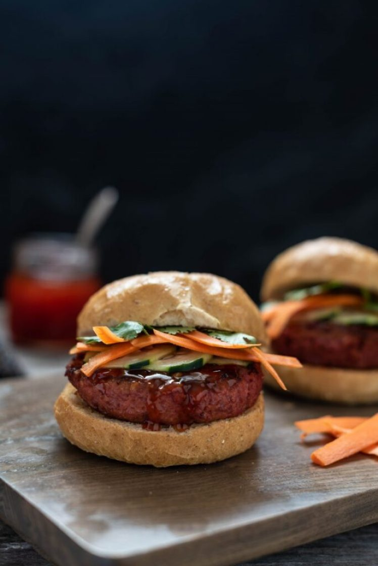 Thai Red Curry Burger with Beyond Meat Beyond Burger Vegan Nutfreevegan