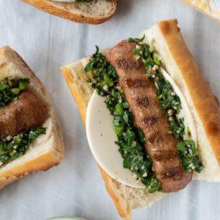 Argentine Choripán Sandwich with Beyond Meat Sausage Vegan nutfreevegan
