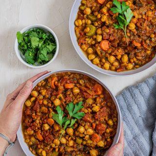 Instant Pot Harissa (Moroccan Chickpea and Lentil Soup)