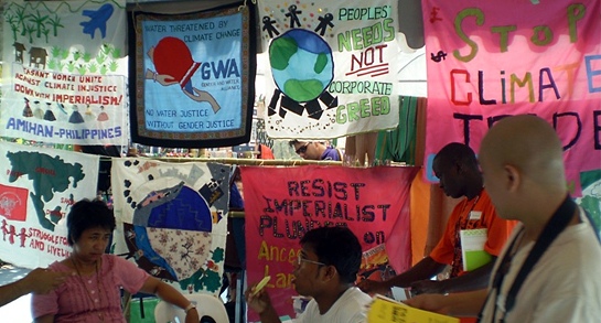 banners about environmental activism
