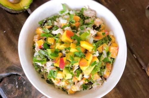 Paleo Peach basil chicken salad