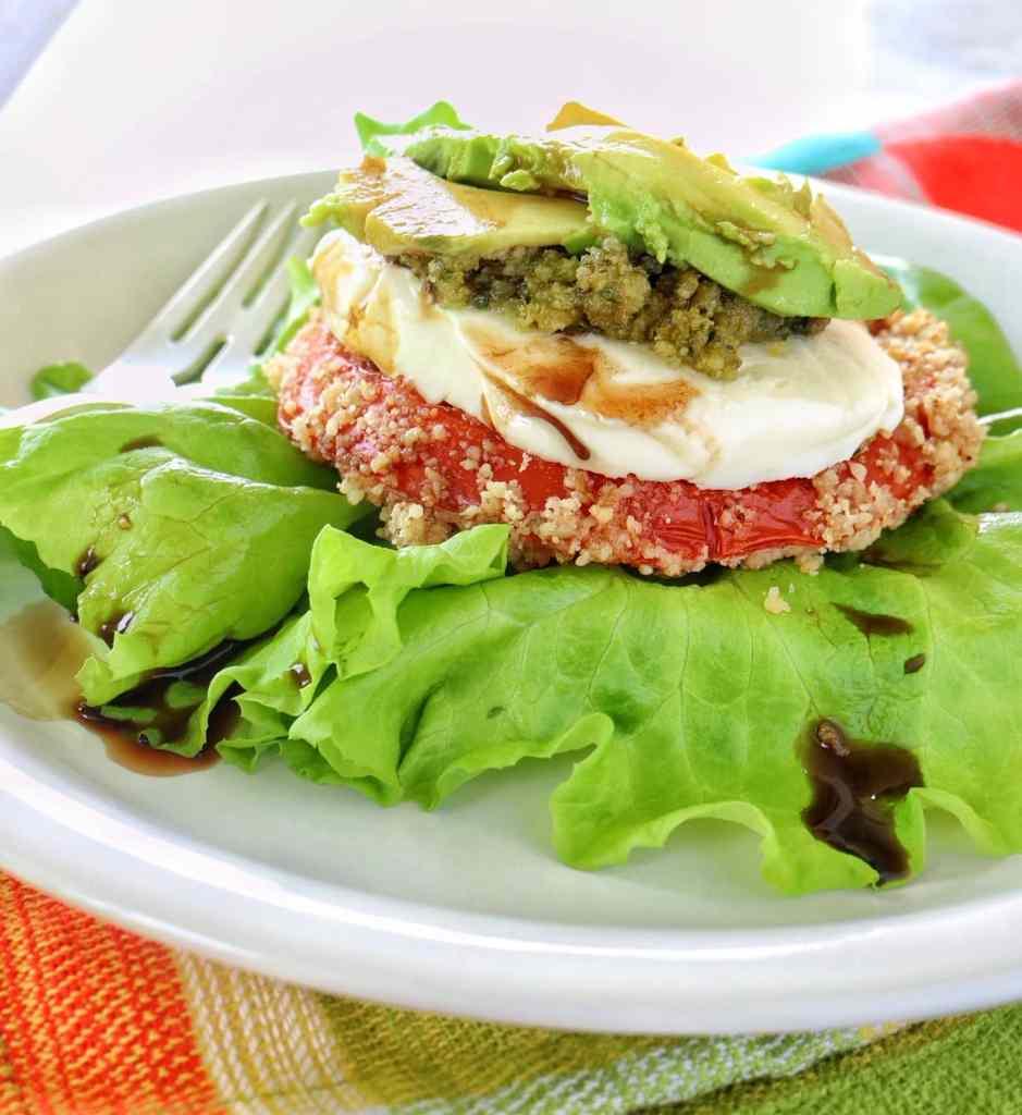 Crusted Tomato Salad with Walnut-Avocado Pesto