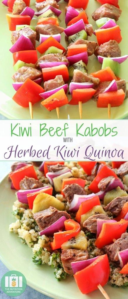 Kiwi Beef Kabobs with Herbed Kiwi Quinoa