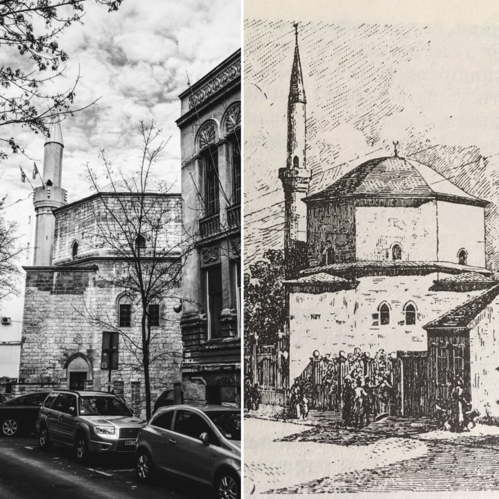 Bajrakli mosque: now and in 19th century (drawing by Felix Kanitz)