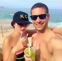 Beachside caipirinhas with Jill in Rio.