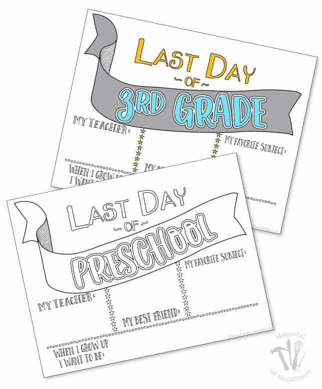 Last Day of School Coloring Printables