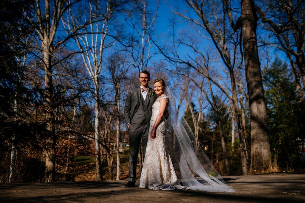 wv winter wedding bride and groom