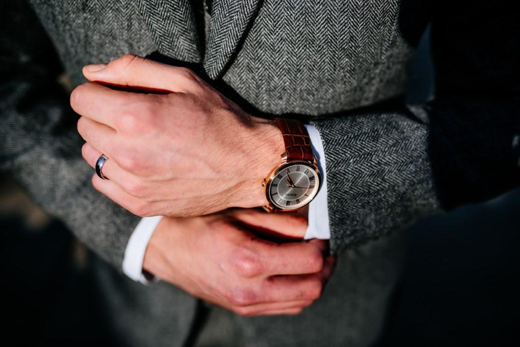 wv winter wedding groom herringbone suit and watch