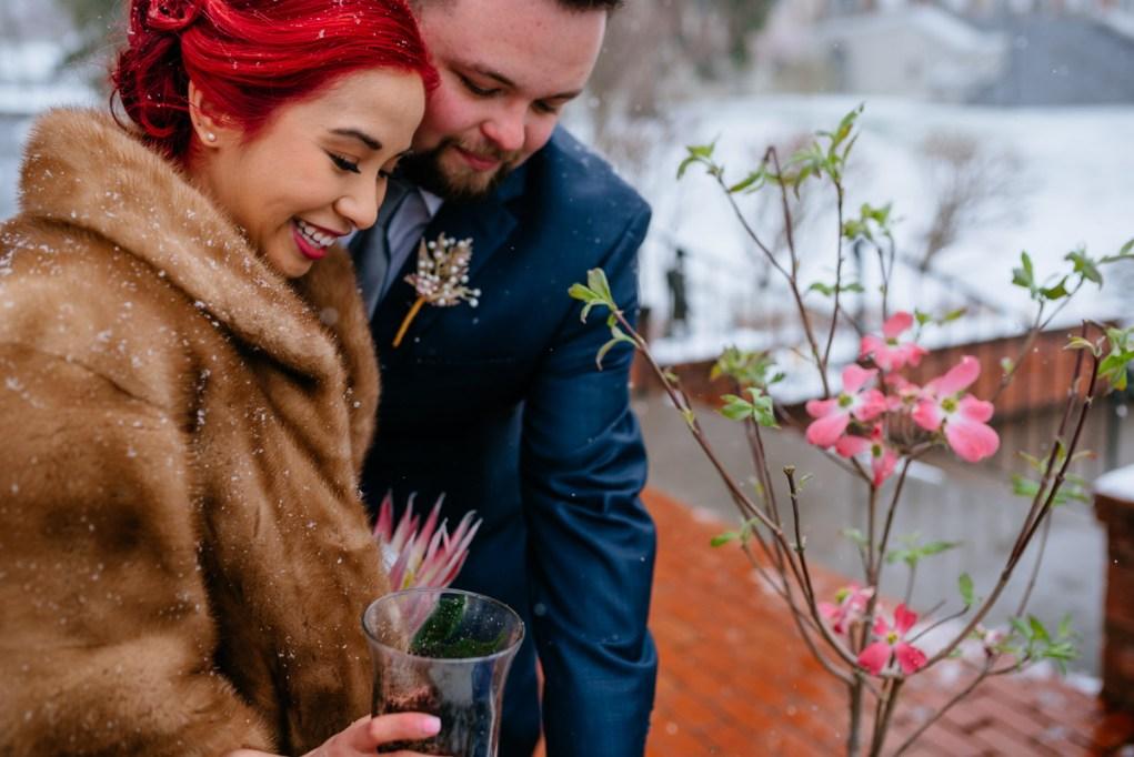 west virginia snowy springtime elopement