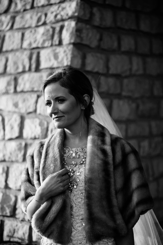wv winter wedding bridal portrait with fur