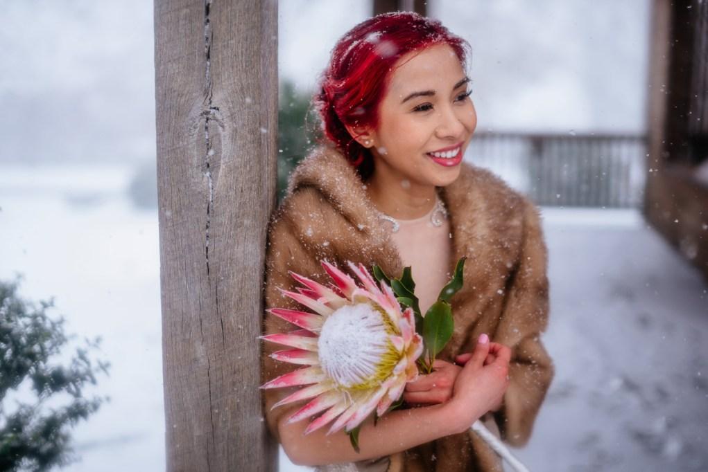 wv snowy wintry elopement