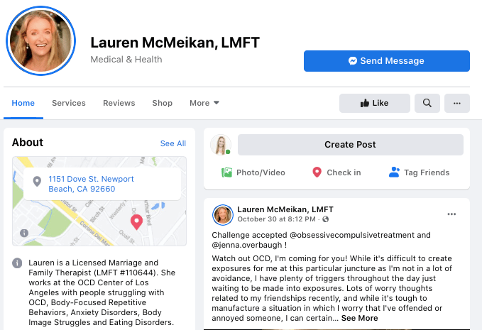 Lauren Rosen, LMFT's facebook page. Lauren educates people about OCD across various social media platforms.