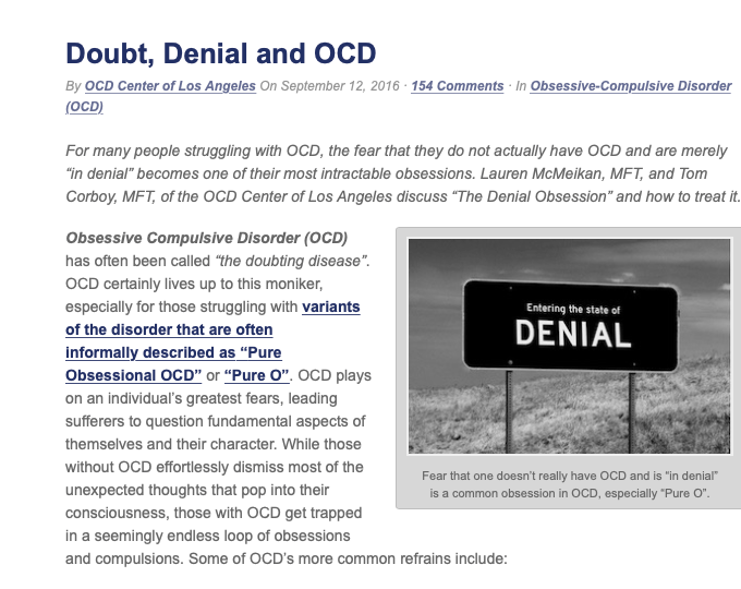 Lauren McMeikan Rosen, LMFT, writes about Doubt, Denial and OCD.