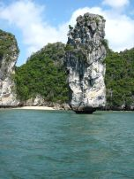 Lime stone rocks viewed from our kayak. This looks like it's going to topple over soon!