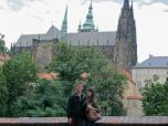 Eric and I in the Royal Gardens of Prague Castle, St. Vitus' Cathedral is behind us