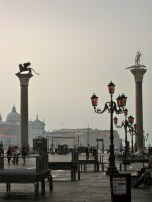 St. Marks Lion and St. Theodore, side by side in Venice