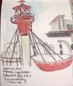 """Quick sketch I did of a """"Lighthouse Boat"""" in Nyhavn"""