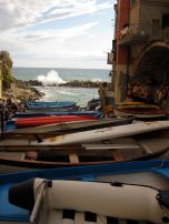 Fishing boats all lined up in Riomaggiore