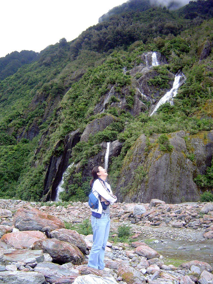 New Zealand Franz Josef Glacier Waterfall Me