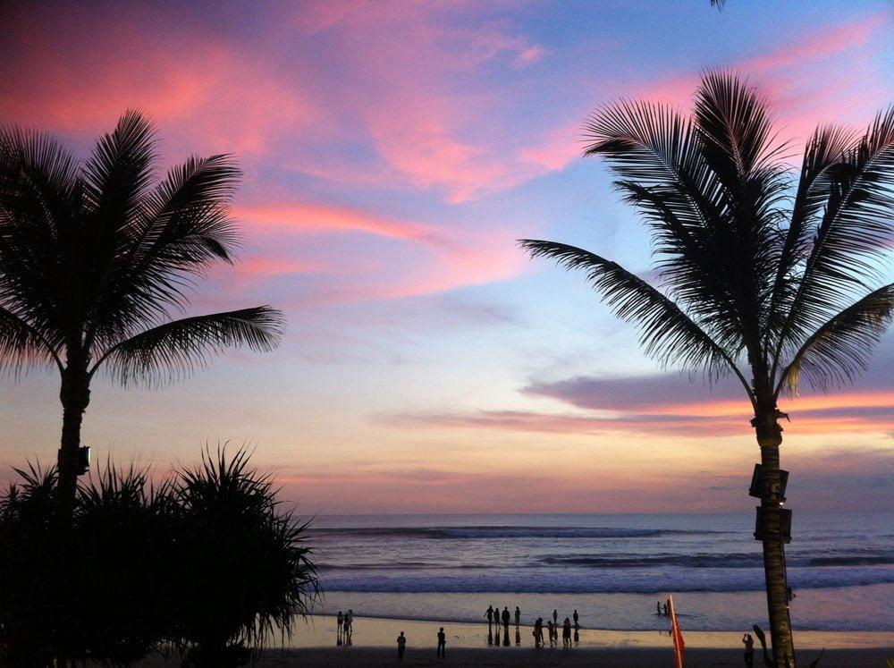 Bali Birthday Trip Seminyak Pink Sunset