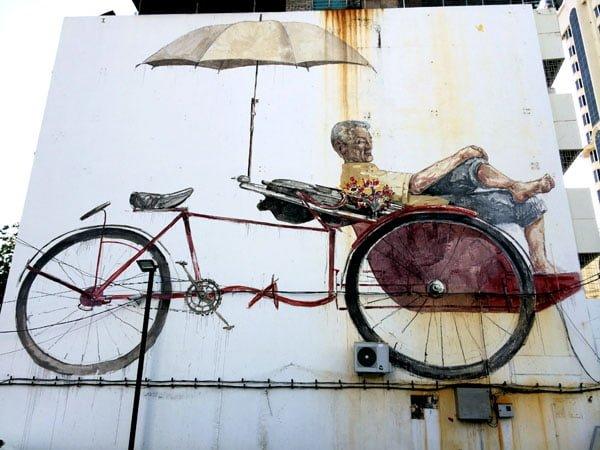 Penang Street Art - Trishaw Man EZ