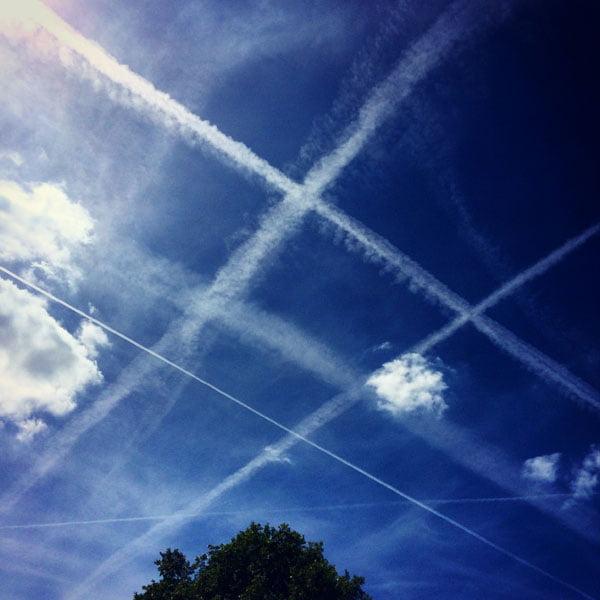 London Work Trip - Blue Sky Plane Trails