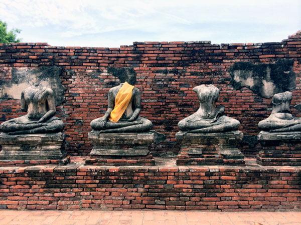 Ayuthaya - Wat Chaiwatanaram headless statues