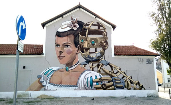 Portugal - Lisbon Street Art Vhils-Pixelpancho lady-robot