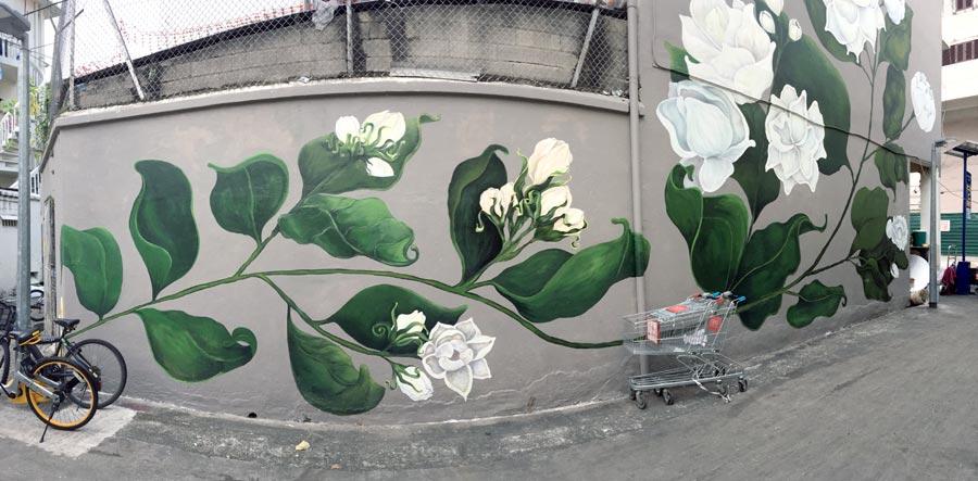 Singapore Street Art - Little India Jasmine Pano