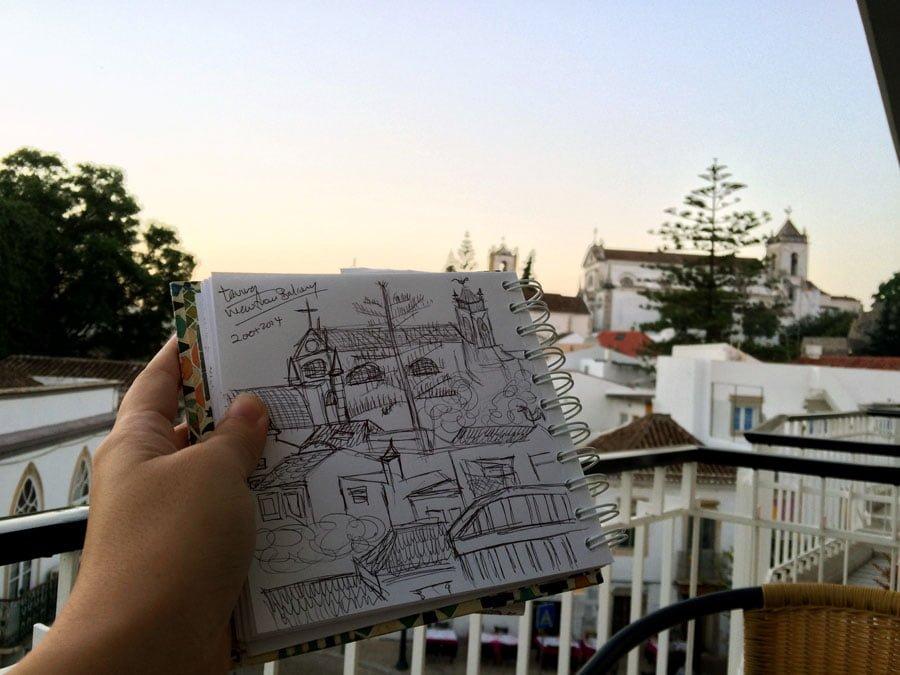 Portugal - Tavira Guesthouse Balcony Sketch