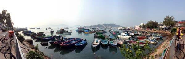 Hong Kong Cheung Chau - Boats Bay Panorama