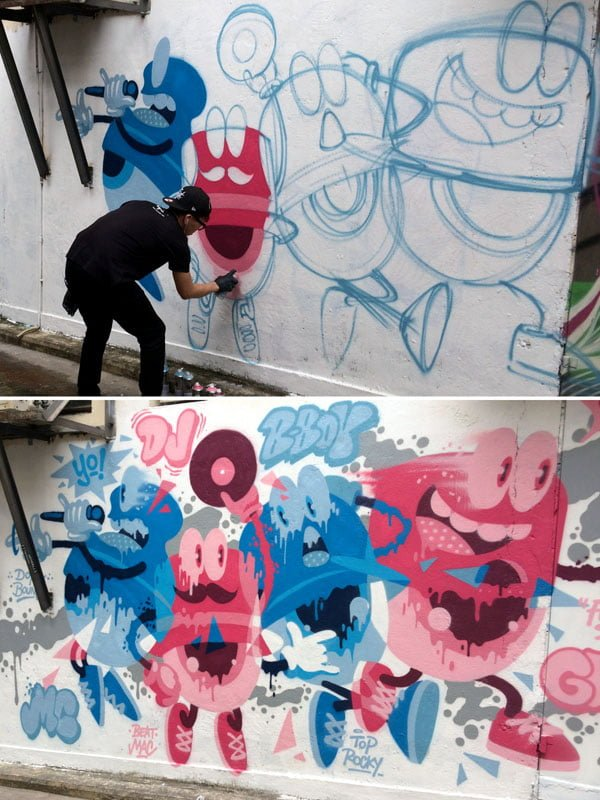 Hong Kong Street Art - Artime Joe Progress