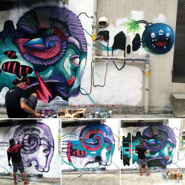 Hong Kong Street Art - Egg Fiasco Progress