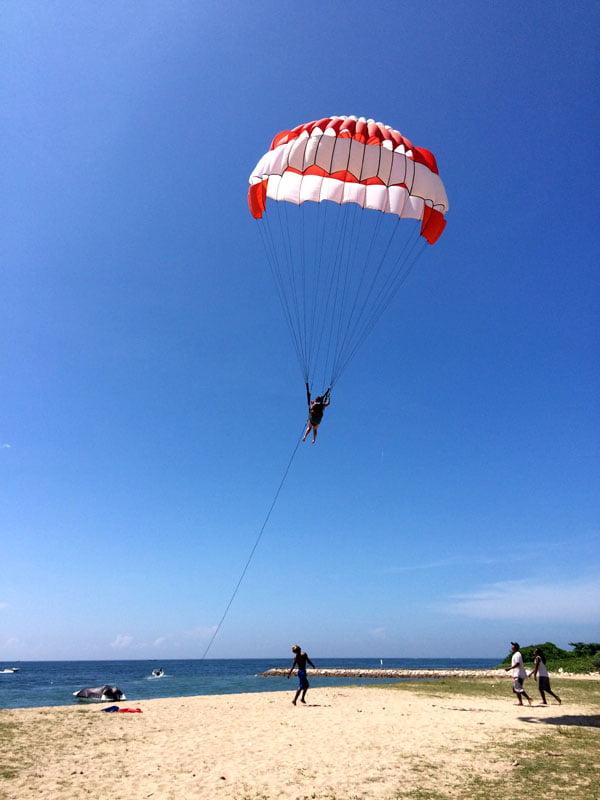 Bali Grand Mirage Resort Parasailing Landing