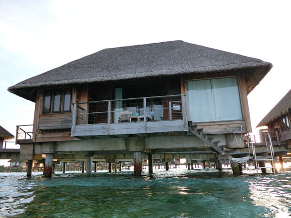 Club Med Kani Maldives Lagoon Suite balcony from water