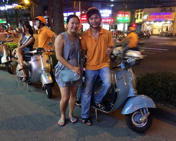 Vietnam Ho Chi Minh Vespa Driver Start