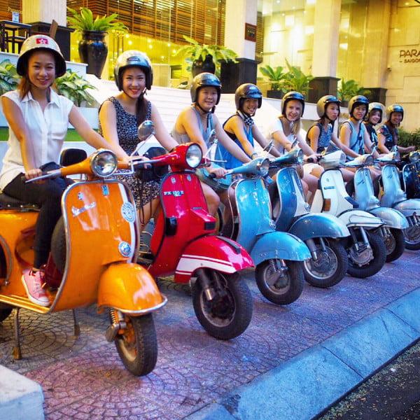 Vietnam Ho Chi Minh Vespa Scooter Row